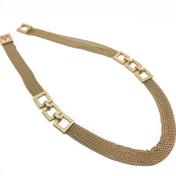 CHRISTIAN DIOR 1970s MODERNIST GILT CHAIN VINTAGE NECKLACE
