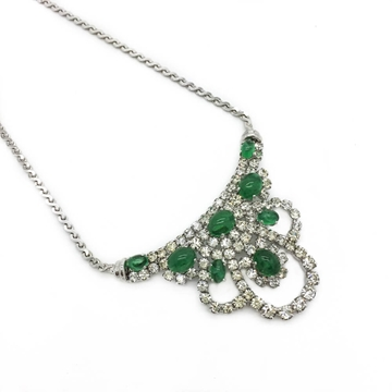 ChRISTIAN DIOR 1970s FAUX 'EMERALD & DIAMOND' CRYSTAL COCKTAIL vintage NECKLACE