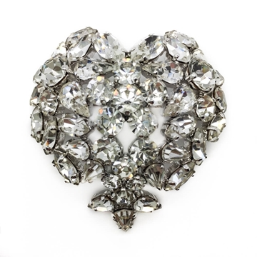 CHRISTIAN DIOR 1960s CRYSTAL HEART vintage BROOCH