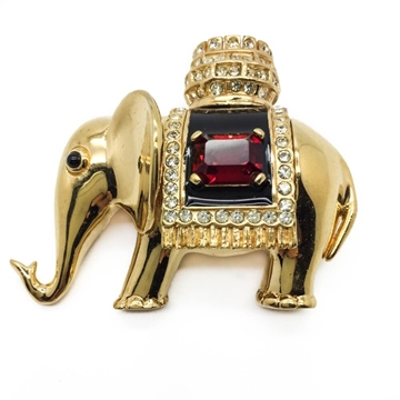CINER 1990s JEWELLED GOLD PLATED ELEPHANT vintage BROOCH