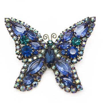 WEISS 1950s CRYSTAL BUTTERFLY blue & green vintage BROOCH