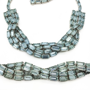 WEISS 1950s 'ALEXANDRITE' blue set earrings necklace bracelet