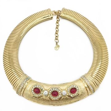 christian DIOR 1990s GILT CRYSTAL SET vintage COLLAR necklace
