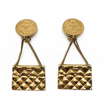 CHANEL 1984 GOLD PLATED 2.55 FLAP BAG vintage EARRINGS
