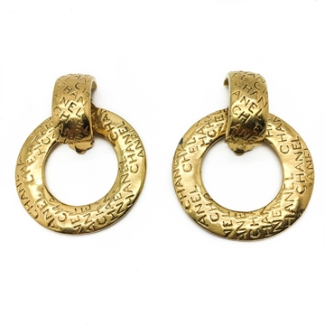 CHANEL 1980s GOLD PLATED CONVERTIBLE HOOP vintage EARRINGS
