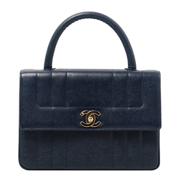 Chanel Caviar Turn-lock Vertical Stitch navy vintage top handle bag
