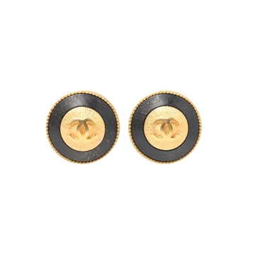 Chanel button style black & gold vintage earrings