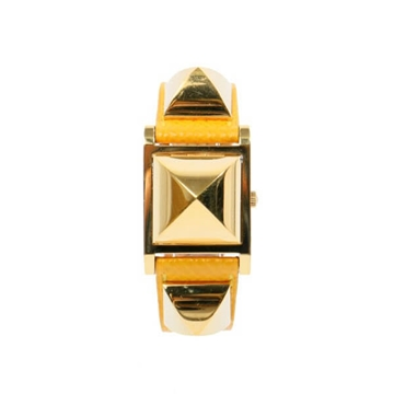 Hermes Medor gold tone yellow vintage watch