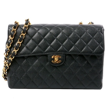 Chanel Caviar Classic Flap Jumbo BLACK vintage shoulder bag