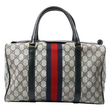 Gucci GG Pattern Web Detail vintage Boston Bag Navy