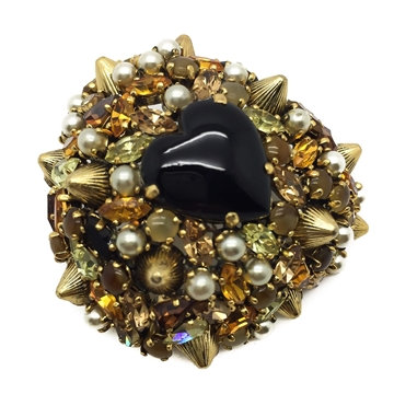 CHRISTIAN DIOR 1962 CRYSTAL & PEARL MODERNIST GILT VINTAGE HEART BROOCH