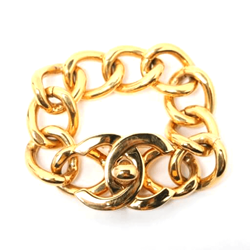 Chanel Big CC logo gold tone vintage Chain Bracelet