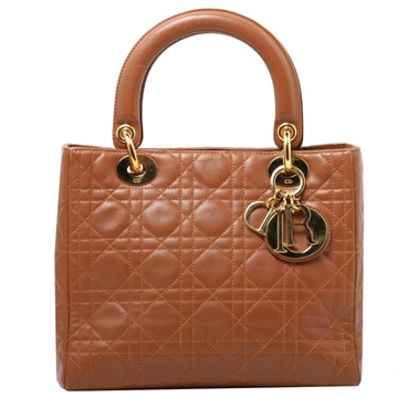 Christian Dior Medium Lady Dior Cannage Stitch Quilted Brown Vintage Top Handle Bag