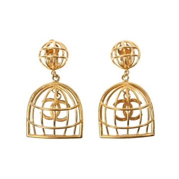 Chanel Cage Design Gold Tone Vintage Earrings