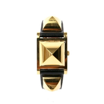Hermes Medor gold tone black vintage watch
