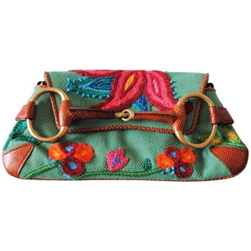 Gucci by Tom Ford 1990s Embroided Horsebit Green Vintage Clutch Bag