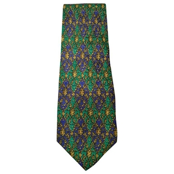 Gianni Versace 1990s Baroque Green and Blue Vintage Tie
