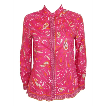 Picture of EMILIO PUCCI 1960s 1970s Cotton patterned pink vintage Blouse