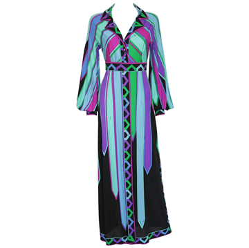 Picture of EMILIO PUCCI 1960s patterned silk blue vintage dress