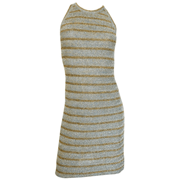 Picture of PIERRE BALMAIN 1960s Striped  Lurex Knit Gold & Silver vintage Dress