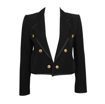 YVES SAINT LAURENT Rive Gauche 1970s Cropped Black Vintage Jacket