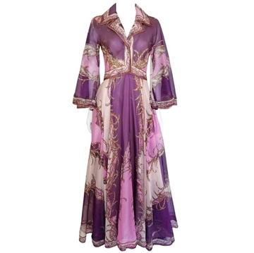 EMILIO PUCCI 1960s Silk Organza Purple Vintage Evening Dress