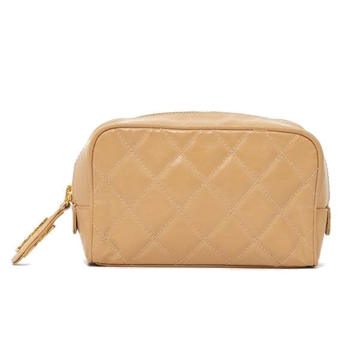 Chanel 1990s leather quilted beige vintage mini pouch