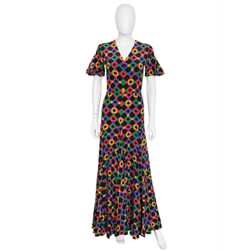 Picture of Heinz Riva 1970s Silk Graphic Print Multicoloured Vintage Maxi Dress