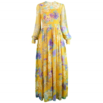 Leonor Barral 1960s Demi Couture Floral Print Yellow Vintage Maxi Dress