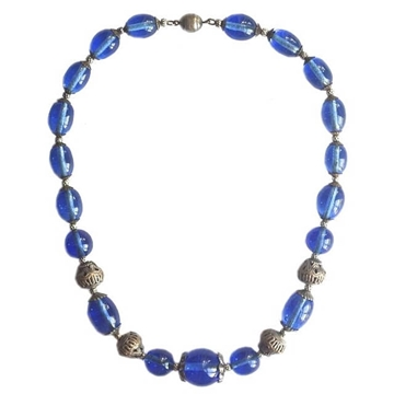 Vintage Art Deco Glass Bead blue Necklace