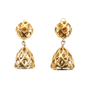 Chanel Bell Design Monogram Gold Tone Vintage Earrings