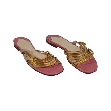 Christian Louboutin Strappy Pink Gold Tone Vintage Leather Flats Sandals