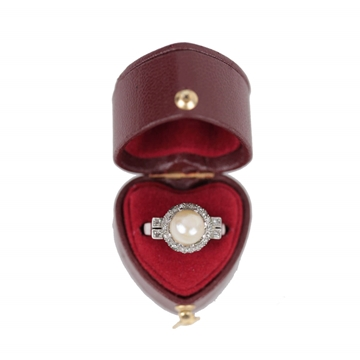 Vintage Italian Natural Pearl And Small Diamond Embellished Platinum Ring