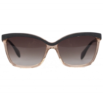 Alexander McQueen Wood Look Detail Transparent Nude Sunglasses