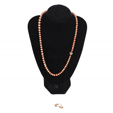 Vintage Sciacca Coral Beads & Silver earrings & necklace