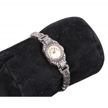 Vintage 1950s 1960s Swiss Made Marcasite Stone Embellished Silver Tone Vintage Ladies Wrist Watch
