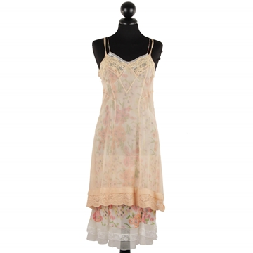 Christian Dior Silky Floral Layered Lace Trim Nude Vintage Cami Dress
