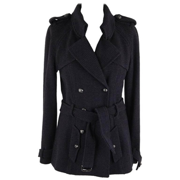 Chanel Double Breasted Belted Blue Vintage Cotton and Wool Jacket Coat