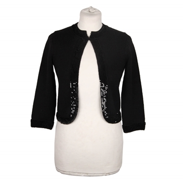 Chanel Sequin Edge Wool Open Front Black Vintage Cardigan