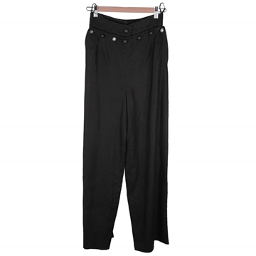 Chanel Wide Leg Front Flap Black Vintage Linen Trousers