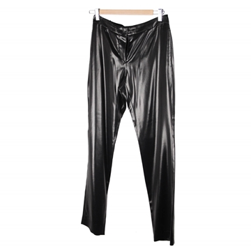 Chanel Acetate Wet Look High Waist Black Vintage Trousers