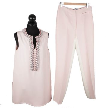 Prada Embellished Sleeveless Tunic and Pants Pink Vintage Trouser Suit Set