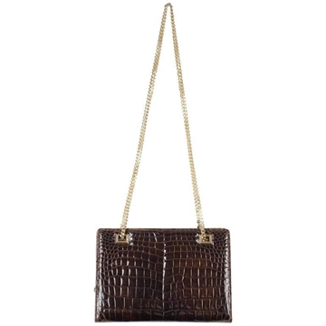 Gucci Brown Crocodile Leather vintage Shoulder Bag With Chain Strap