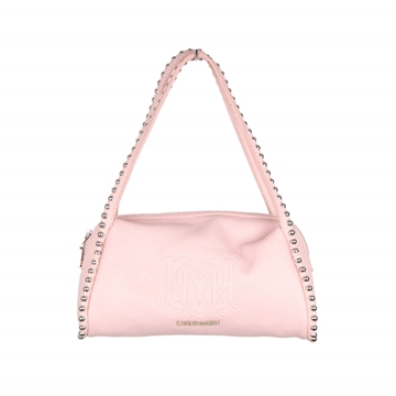 Love Moschino Deacon Leather silver Tone Beaded Trim Pale Pink Vintage Shoulder Bag