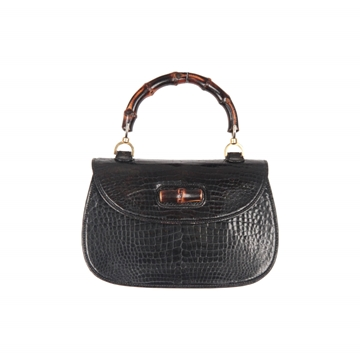 Gucci leather & bamboo black vintage top handle bag