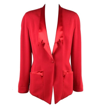 Thierry Mugler Satin Lapel  Red Vintage Blazer Jacket
