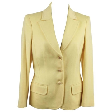 Versace AW05 Single Breasted Yellow Cashmere Blend Blazer Jacket