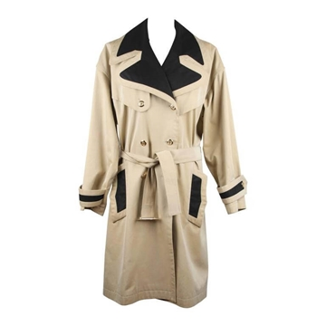 Chanel Cotton Double Breasted tan vintage Trench Coat