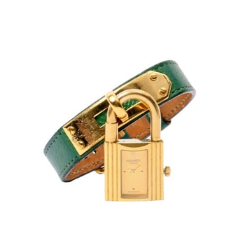 Hermes 1990s Kelly gold tone green vintage watch