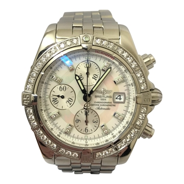 Breitling Chronographe stainless steel vintage mens watch with diamond bezel